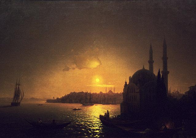 Ayvazovski'nin 'Ay ışığında İstanbul' tablosunun bir röprodüksiyonu