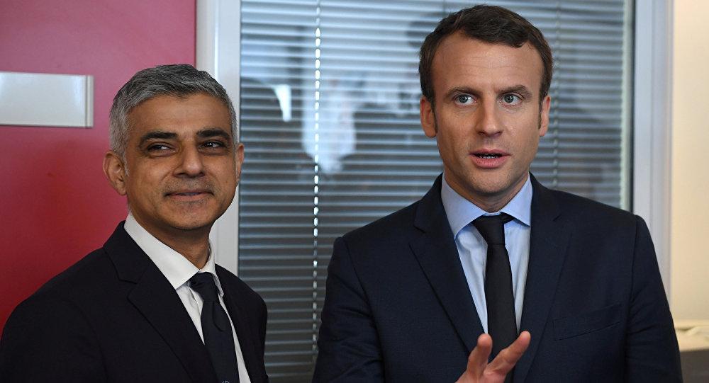 Londra Belediye Başkanı Sadık Han ve Fransız cumhurbaşkanı adayı Emmanuel Macron
