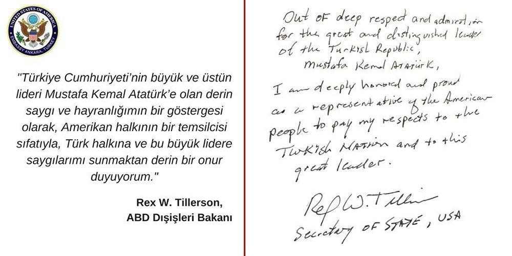 ABD Dışişleri Bakanı Tillerson Anıtkabir'deydi