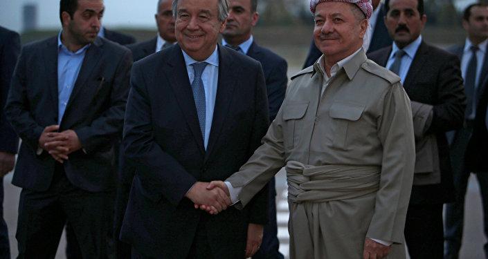 Irak Kürt Bölgesel Yönetimi Başkanı Mesut Barzani ve Birleşmiş Milletler Genel Sekreteri Antonio Guterres