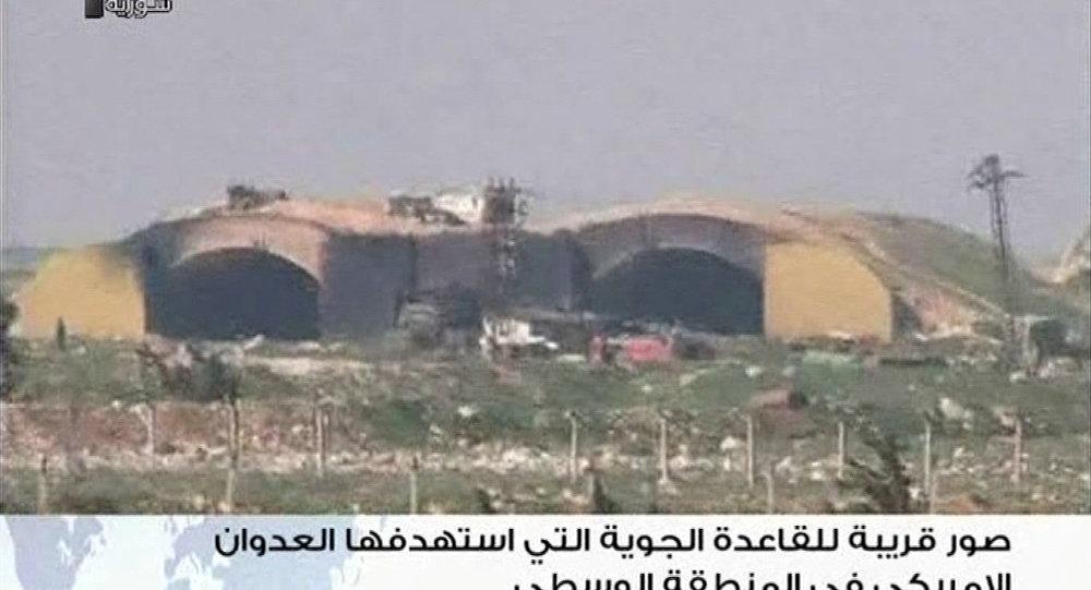 ABD'nin vurduğu Suriye üssünün görüntüleri