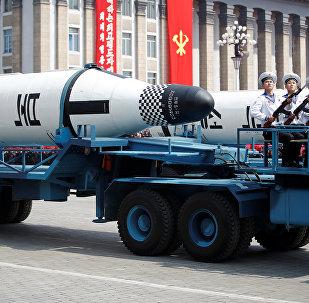 Kuzey Kore'deki 'Güneş Günü' kutlamaları kapsamında yapılan asker geçitte deniz altı balistik füzeleri