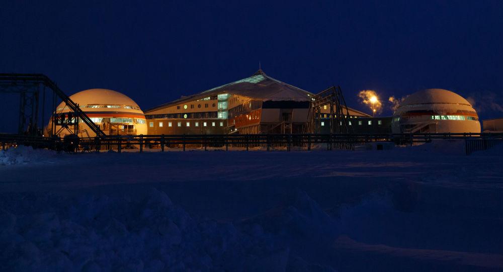 Arktik bölgesindeki Rus Kuzey Filosu'na bağlı 'Arktik Trilistnik' (Arktik Yoncası) isimli askeri üssün alanından bir kare.