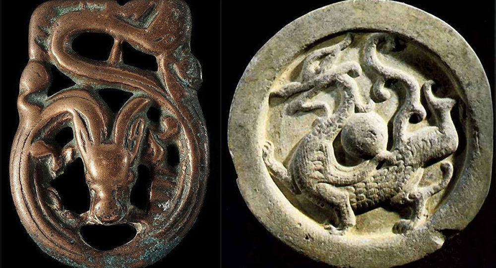 Güney Sibirya'da bunulan bronz kemer levhalarındaki ejderha çizimleri