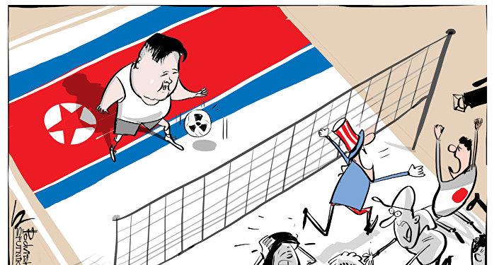 ABD savaşa hazırlanırken Kuzey Kore voleybol oynuyor