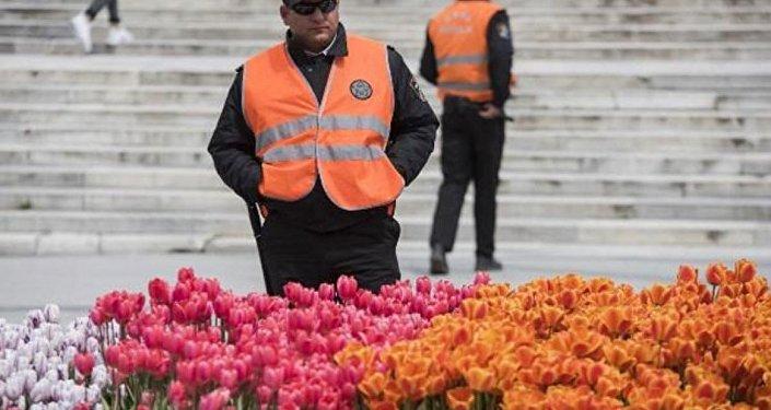 Taksim'deki laleleri koruyan özel güvenlik birimleri