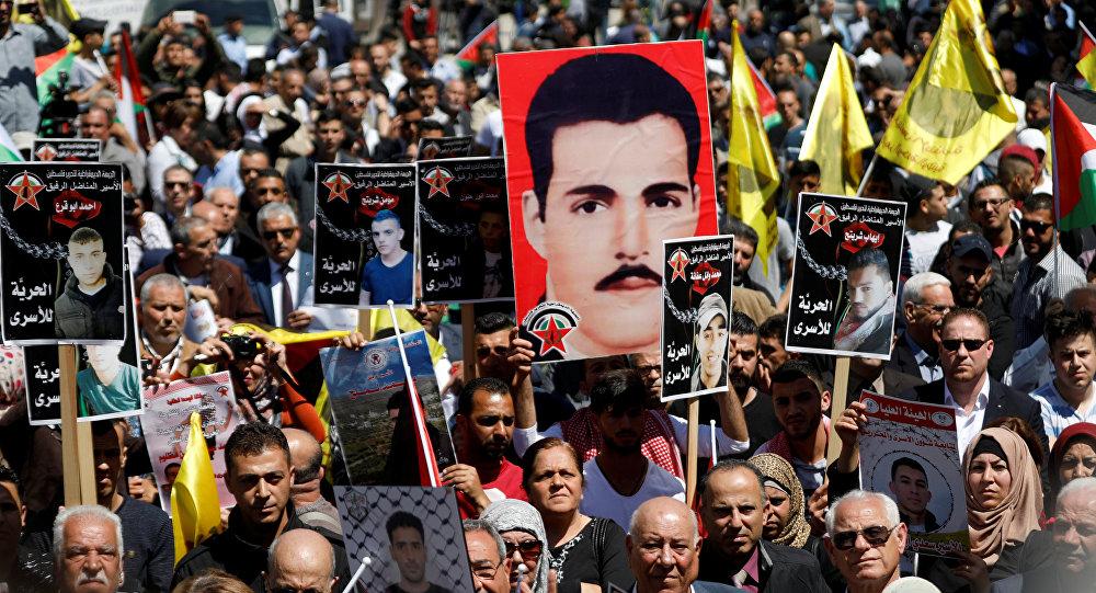 Açlık grevindeki Filistinli tutuklulara destek yürüyüşü