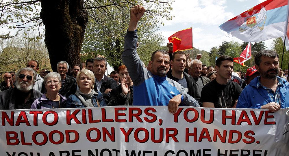 Karadağ'ta Nato karşıtı gösteri