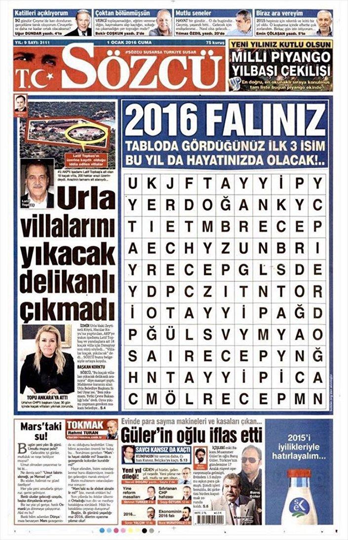 AA: İstanbul Cumhuriyet Başsavcılığınca, Sözcü gazetesinin sahibi Burak Akbay'ın da aralarında bulunduğu 4 kişi hakkında 'FETÖ'ye üye olmamakla birlikte örgüt adına suç işledikleri' iddiasıyla gözaltı kararı çıkarılan soruşturma dosyasında, 15 Temmuz 2016 günü internet sitesinden yer alan 'Sözcü Erdoğan'ı buldu' başlıklı haber ve 1 Ocak 2016 günü gazetede yayınlanan '2016 falınız' başlıklı haberlerin yer aldığı belirtildi.