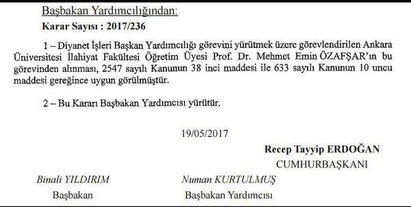 Diyanet İşleri Başkan Yardımcısı Mehmet Emin Özafşar görevinden alındı