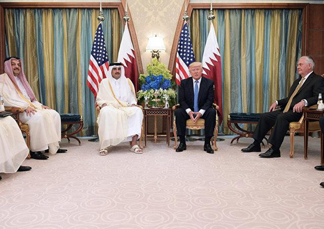 Donald Trump ve Katar Emiri Şeyh Temim bin Hamad Al Sani