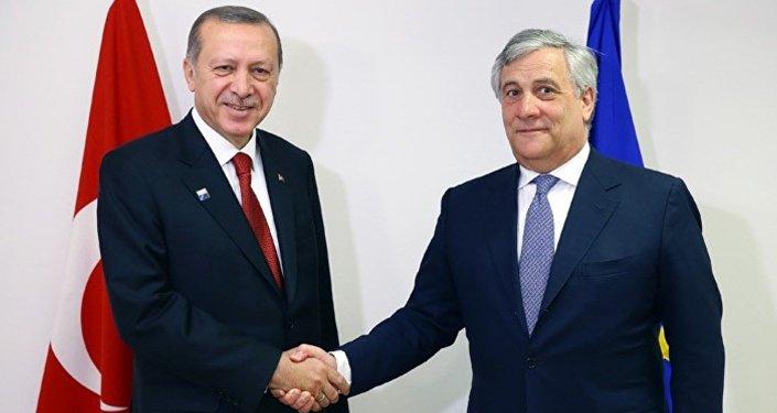Cumhurbaşkanı Recep Tayyip Erdoğan- AP Başkanı Antonio Tajani