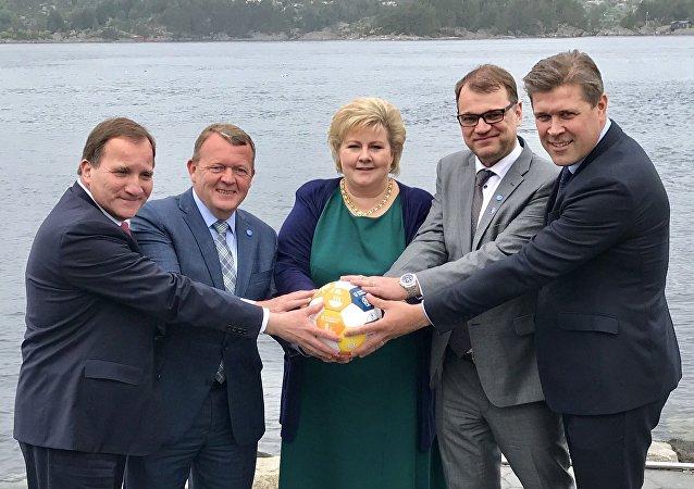 Nordik ülkesi Danimarka, Norveç, Finlandiya, İsveç ve İzlanda'nın başbakanları