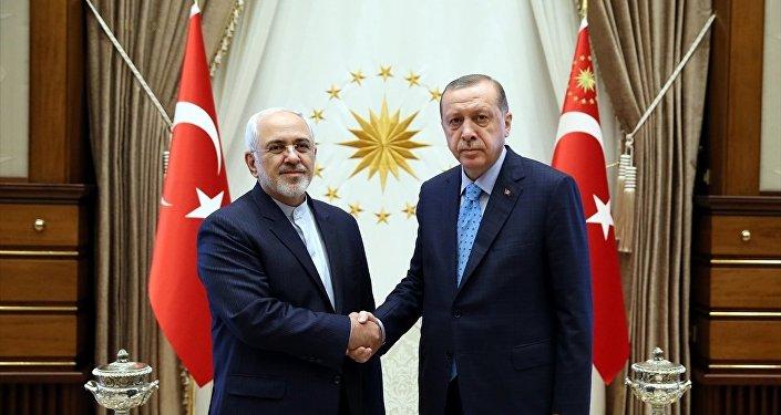 İran Dışişleri Bakanı Muhammed Cevad Zarif ve Cumhurbaşkanı Recep Tayyip Erdoğan