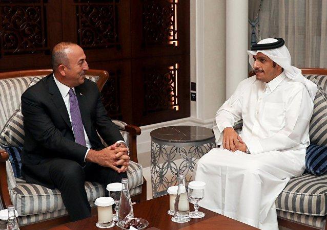 Dışişleri Bakanı mevlüt Çavuşoğlu, Katar Emiri Şeyh Temim bin Hamad el Sani ile birlikte