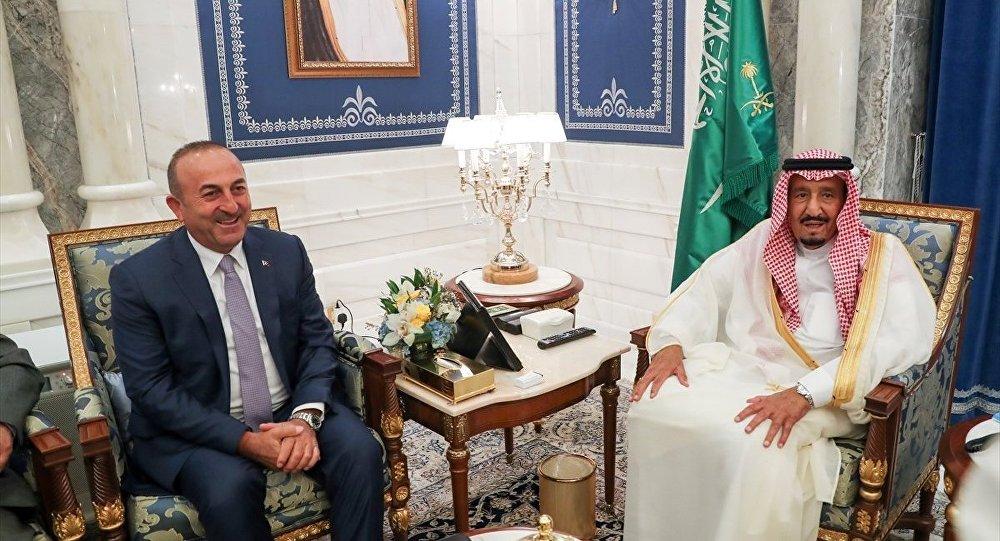Dışişleri Bakanı Mevlüt Çavuşoğlu ile Suudi Arabistan Kralı Selman bin Abdulaziz