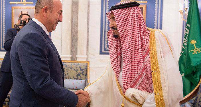 Dışişleri Bakanı Mevlüt Çavuşoğlu-Suudi Arabistan Kralı Selman bin Abdülaziz el Suud