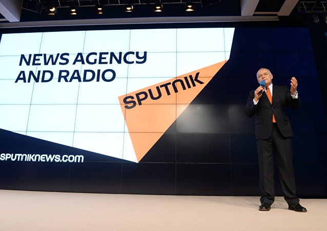 Rossiya Segodnya Director General Dmitry Kiselev at the presentation of the major international news brand, Sputnik