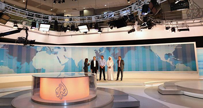 Al-Jazeera channel's newsroom in Doha
