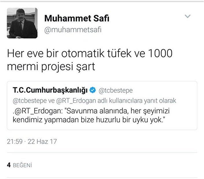 Cumhurbaşkanlığı Arşiv Müdürü'nün Twitter hesabından paylaştığı 'silahlanma' mesajı.