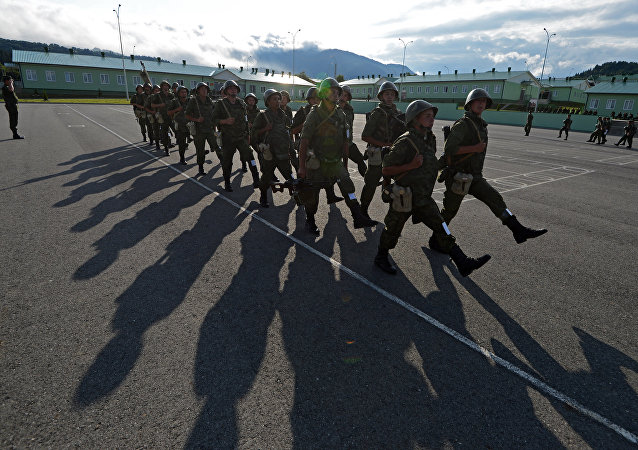 Fourth military base personnel engaged in drill training, South Ossetia
