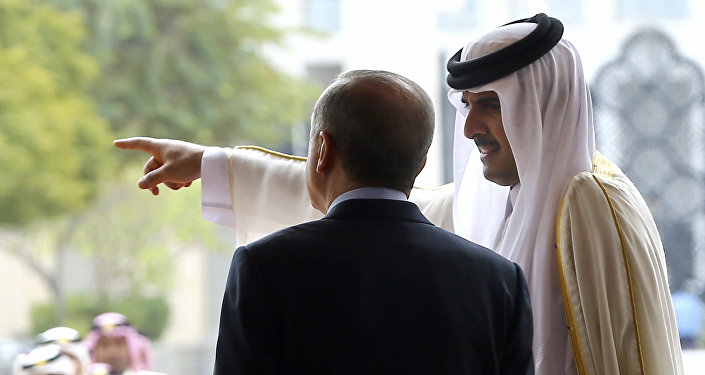 Emir of Qatar Sheikh Tamim bin Hamad Al-Thani, right, points as Turkey's President Recep Tayyip Erdogan looks on during a welcome ceremony in Doha, Qatar, Wednesday, Feb. 15, 2017