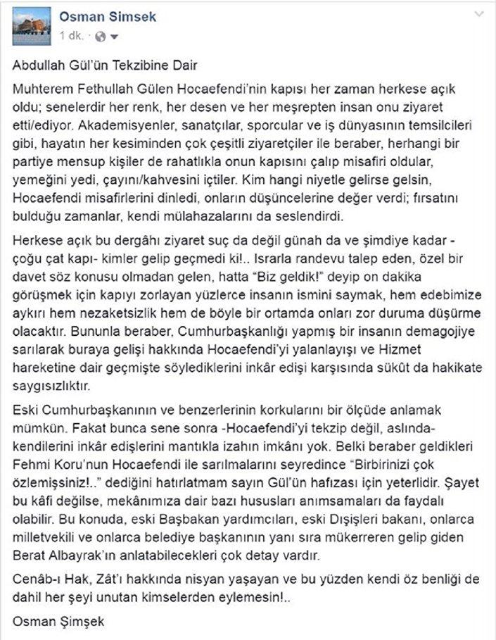 Fethullah Gülen'in sağ kolu Osman Şimşek'in Abdullah Gül'e yanıtı.