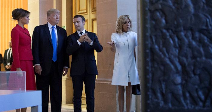 Emmanuel Macron - Brigitte Trogneux - Donald Trump - Melania Trump