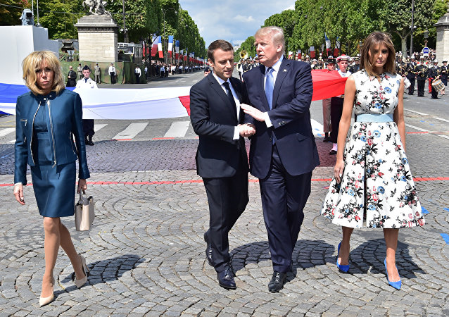 ABD Başkanı Donald Trump, Fransa Cumhurbaşkanı Emmanuel Macron, Bastille Günü