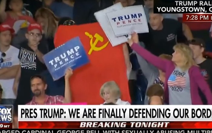 Trump'ın konuşması sırasında SSCB bayrağı açtılar