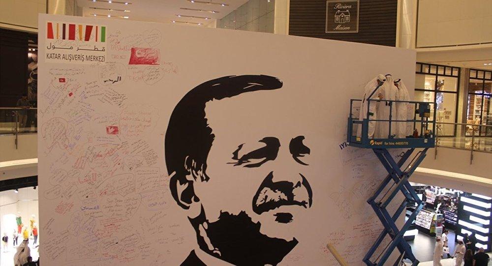 Katar'da Cumhurbaşkanı Recep Tayyip Erdoğan'ın posteri asıldı