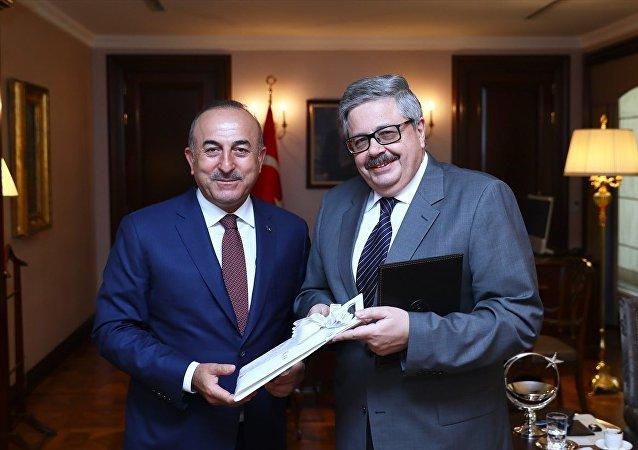 Dışişleri Bakanı Mevlüt Çavuşoğlu ve Rusya'nın Ankara Büyükelçisi Aleksey Yerhov