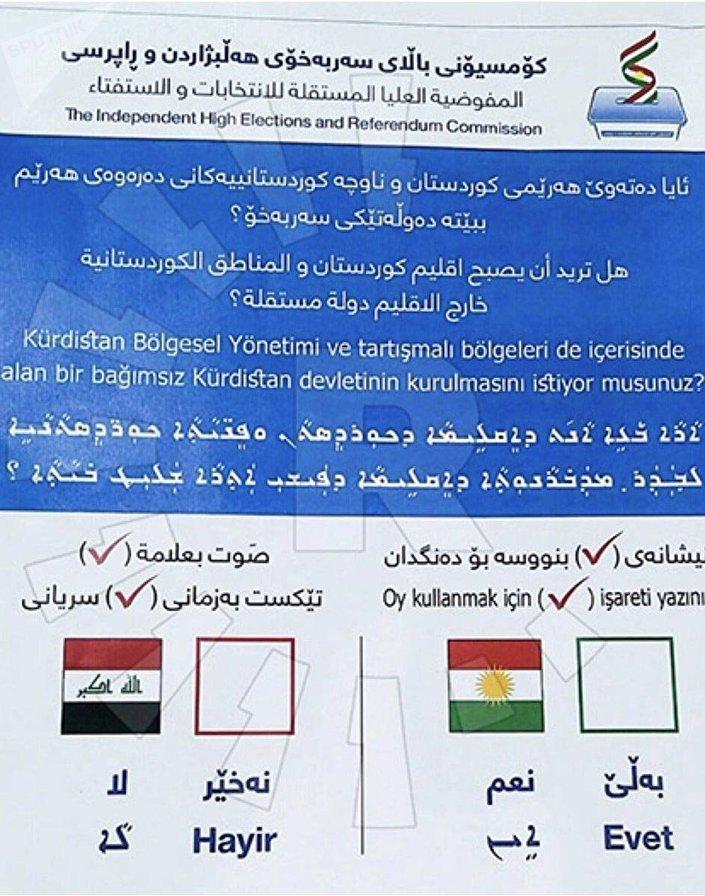 Irak Bölgesel Kürt Yönetimi Bağımsızlık Referandumu Pusulası