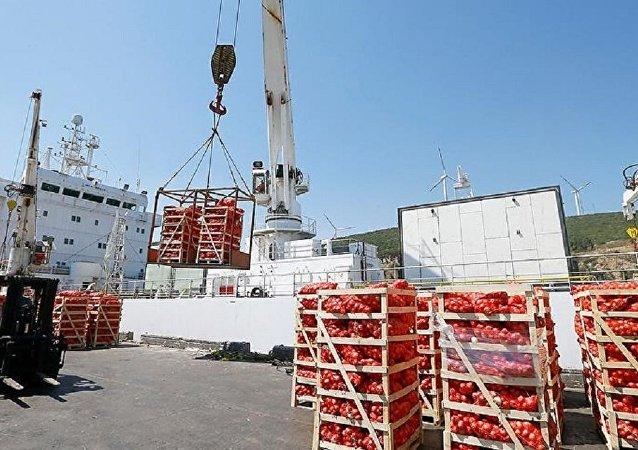 Katar'a ikinci gıda gemisi İzmir'de yüklenmeye başlandı