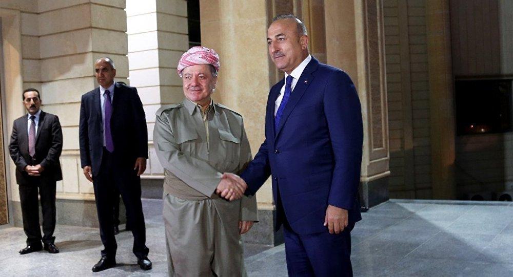 Irak Kürt Bölgesel Yönetimi'nin Başkanı Mesud Barzani ile Dışişleri Bakanı Mevlüt Çavuşoğlu