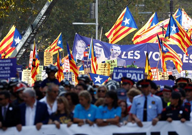 Barcelona'da teröre karşı Korkmuyorum gösterisi