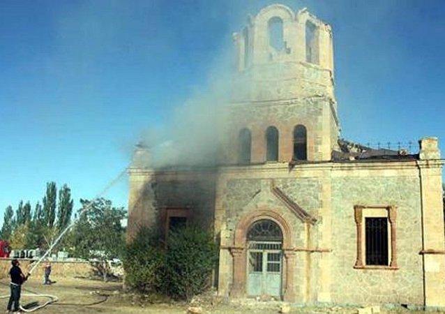 Oltu kilisesi - Yangın