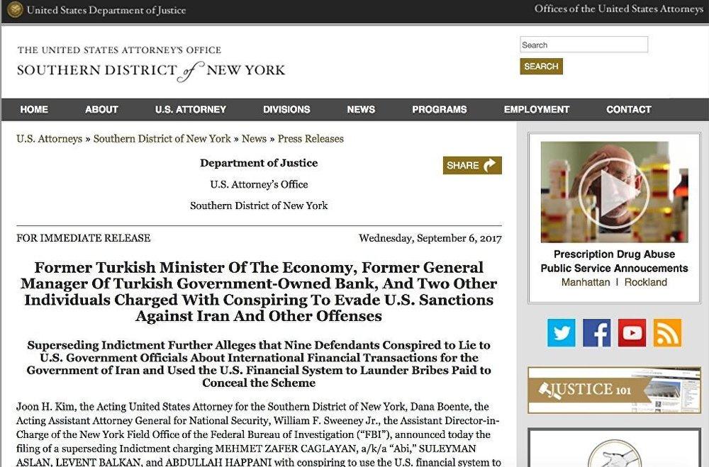 Eski Bakan Zafer Çağlayan'ın adı, ABD'de Rıza Sarraf dosyasına konan iddianameye girdi.