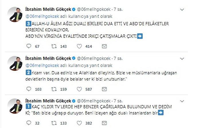Ankara Büyükşehir Belediye Başkanı Melih Gökçek'in Twitter hesabından yaptığı paylaşımlar