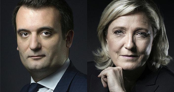 Fransa'da aşırı sağ parti Ulusal Cephe'nin (FN) Başkan Yardımcısı Florian Philippot- Genel Başkan Marine Le Pen