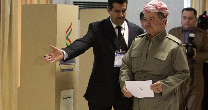 IKBY Başkanı Mesud Barzani, oyunu kullandı.