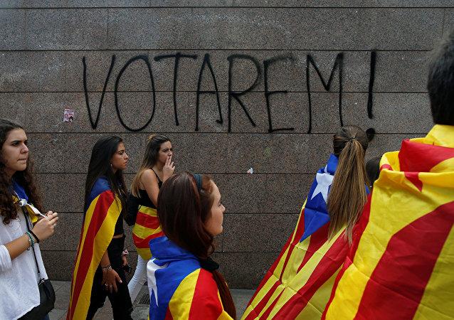 Katalonya'nın başkenti Barcelona'da öğrenciler bağımsızlık referandumu için eylem yaptı