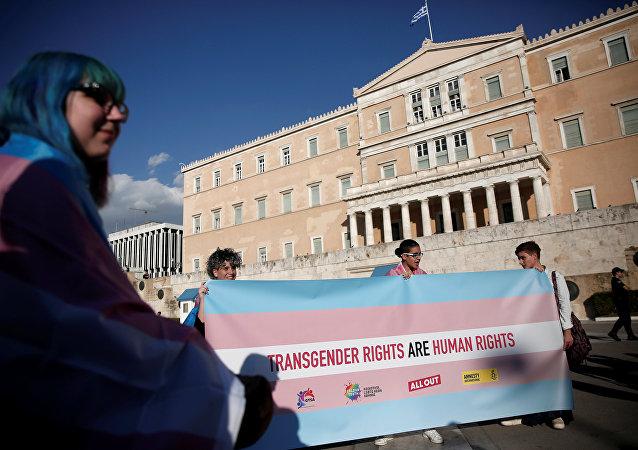 Yunanistan'da cinsiyet değiştirme hakkı için yapılan eylemden