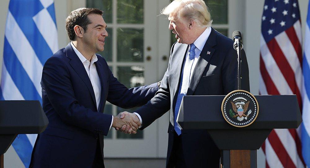 Yunanistan Başbakanı Aleksis Çipras ile ABD Başkanı Donald Trump