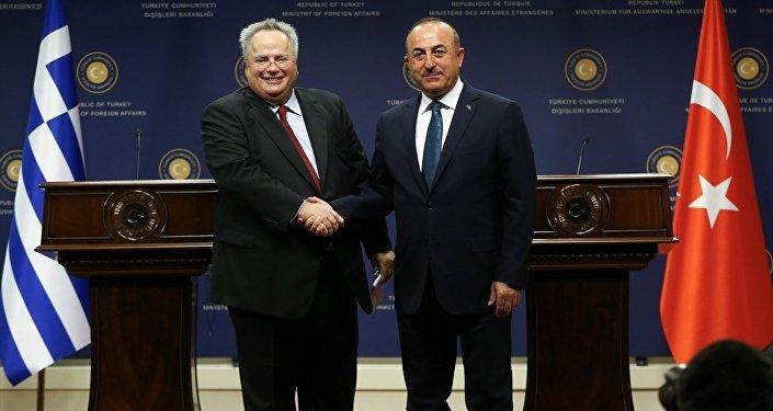 Dışişleri Bakanı Mevlüt Çavuşoğlu ve Yunanistan Dışişleri Bakanı Nikos Kocias