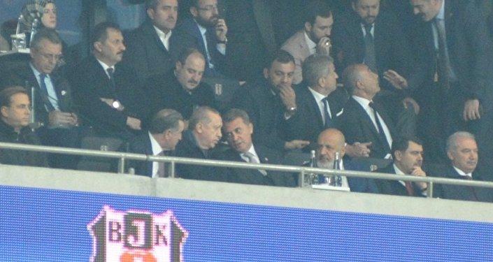 Beşiktaş Monaco maçı - Recep Tayyip Erdoğan tribünde