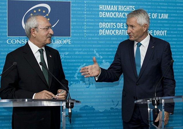 CHP Genel Başkanı Kemal Kılıçdaroğlu ve Avrupa Konseyi Genel Sekreteri Thorbjorn Jagland