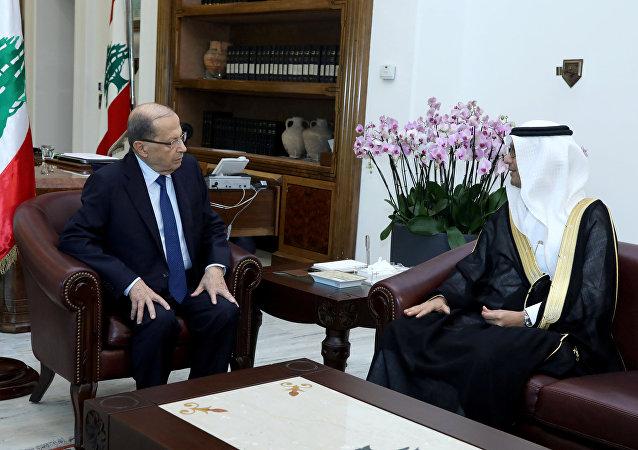 Lübnan Cumhurbaşkanı Mişel Aun ve Suudi Arabistan'ın Lübnan Maslahatgüzarı Velid el Buhari