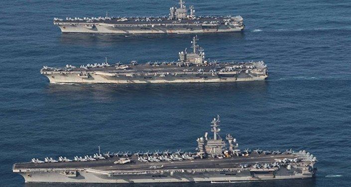 ABD'ye ait 3 uçak gemisinin Kore Yarımadası'nın sularına girişi