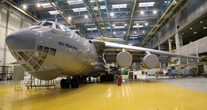 Transport aircraft Il-76MD-90A in a workshop of JSC Aviastar-SP in Ulyanovsk